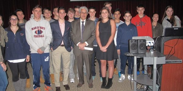 With students of the Manhasset High School